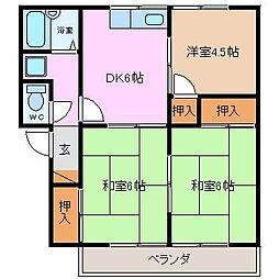 プレジール伊倉[B206号室]の間取り
