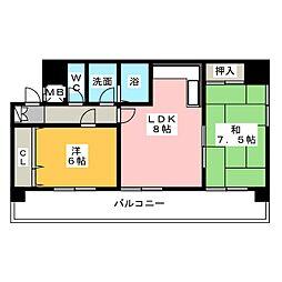 第二宝来マンション[9階]の間取り