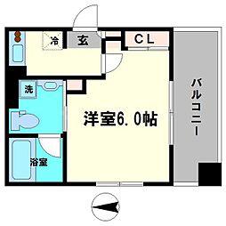 京阪本線 森小路駅 徒歩10分の賃貸マンション 6階1Kの間取り