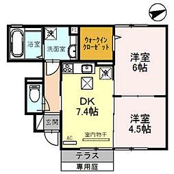 兵庫県加東市北野の賃貸アパートの間取り