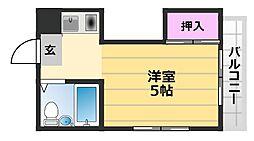 コサエールマンション 2階1Kの間取り