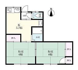 諸永アパート[2号室]の間取り
