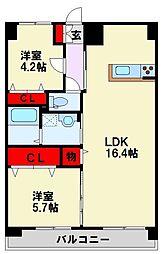 MDIプロスディブロ黒崎駅前 12階2LDKの間取り