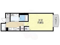 Osaka Metro谷町線 天神橋筋六丁目駅 徒歩1分の賃貸マンション 2階1Kの間取り