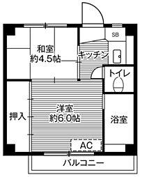 ビレッジハウス平山崎1号棟 2階2Kの間取り