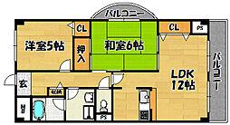 大阪府大阪市東淀川区淡路2丁目の賃貸マンションの間取り