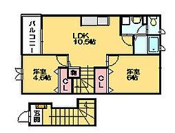 エアリーコートT[2階]の間取り