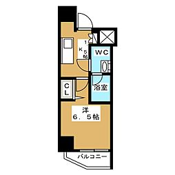 ニューガイア リルーム芝NO.28 8階1Kの間取り