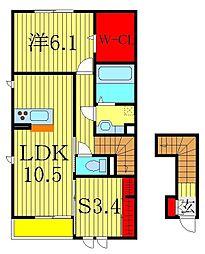 サイドガーデン南増尾 B棟[201号室]の間取り