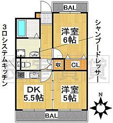 愛知県名古屋市昭和区元宮町4丁目の賃貸マンションの間取り