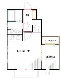 JR中央本線 吉祥寺駅 バス25分 京王ストア―前下車 徒歩3分の賃貸アパート 1階1LDKの間取り