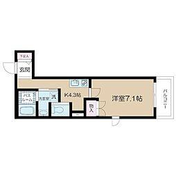 都営大江戸線 西新宿五丁目駅 徒歩3分の賃貸マンション 3階1Kの間取り