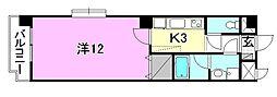United SQUARE 2階1Kの間取り