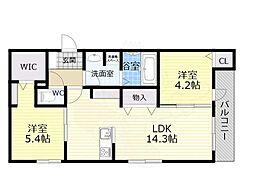 Osaka Metro谷町線 喜連瓜破駅 徒歩12分の賃貸アパート 3階2LDKの間取り