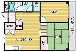 大阪府茨木市新堂3丁目の賃貸アパートの間取り
