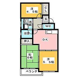 プリムローズ マキ B棟[4階]の間取り