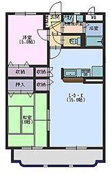 広島県東広島市西条末広町の賃貸マンションの間取り
