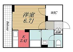 JR内房線 姉ヶ崎駅 徒歩2分の賃貸マンション 2階1Kの間取り