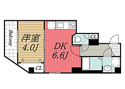 JR京葉線 蘇我駅 徒歩4分の賃貸マンション 2階1DKの間取り