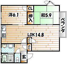 ファミール二島 B棟[1階]の間取り