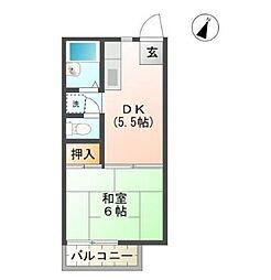 メゾンブランシュII[2階]の間取り