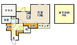 金沢シーサイドライン 海の公園柴口駅 徒歩10分の賃貸アパート 1階ワンルームの間取り