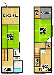 Osaka Metro谷町線 喜連瓜破駅 徒歩17分 3DKの間取り