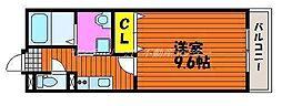 JR山陽本線 岡山駅 徒歩15分の賃貸マンション 2階1Kの間取り