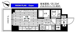 JR埼京線 大宮駅 徒歩4分の賃貸マンション 9階ワンルームの間取り