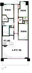 JR中央本線 三鷹駅 バス7分 北裏下車 徒歩5分の賃貸マンション 8階3LDKの間取り