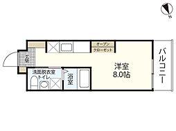 JR山陽本線 広島駅 徒歩23分の賃貸マンション 5階ワンルームの間取り
