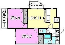 ソレアード・45[201 号室号室]の間取り