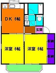 静岡県磐田市見付の賃貸アパートの間取り