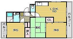 大阪府茨木市東奈良2丁目の賃貸マンションの間取り