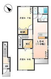 笠間市美原新築アパート[205号室号室]の間取り