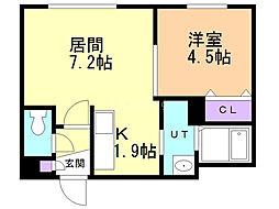 ル・ファール北円山 4階1LDKの間取り