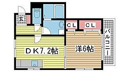 兵庫県神戸市中央区大日通5丁目の賃貸マンションの間取り