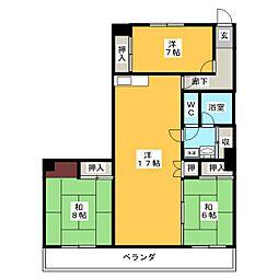 シャトー千代田[5階]の間取り