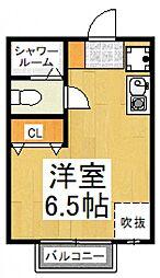 シエスタヴィラ久米川 桜 2階ワンルームの間取り