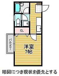 愛知県名古屋市千種区池園町1丁目の賃貸アパートの間取り