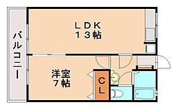 福岡県福岡市城南区南片江1丁目の賃貸アパートの間取り