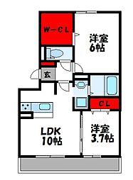 Bell Demeure B棟[1階]の間取り
