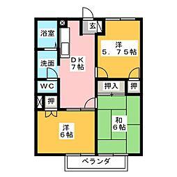静岡県静岡市清水区八木間町の賃貸マンションの間取り