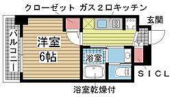 エステムコート神戸元町IIリザーブ 3階1Kの間取り