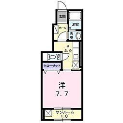 新潟県新潟市中央区東堀前通2番町の賃貸アパートの間取り