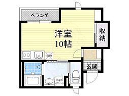 JR阪和線 上野芝駅 徒歩4分の賃貸アパート 1階ワンルームの間取り