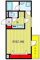 都営三田線 志村三丁目駅 徒歩6分の賃貸マンション 5階1Kの間取り