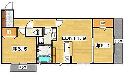 (仮)D−room 渚本町[2階]の間取り