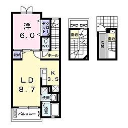 サニーレジデンスB[3階]の間取り