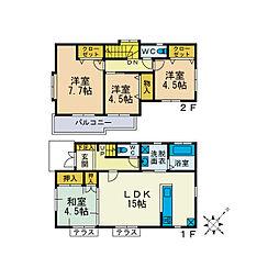 [一戸建] 神奈川県厚木市みはる野2丁目 の賃貸【神奈川県/厚木市】の間取り